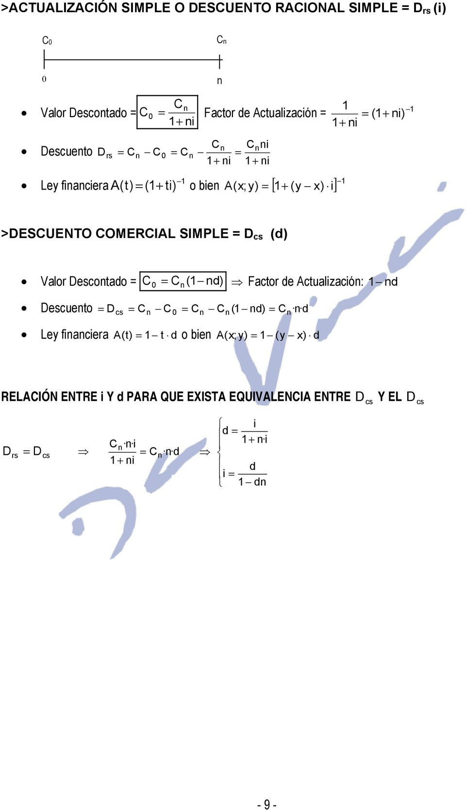 Valor Descoado = = ( d) Facor de Acualzacó: d Descueo = D = = ( d) d cs = Ley facera A() = d o be A(x; y) =