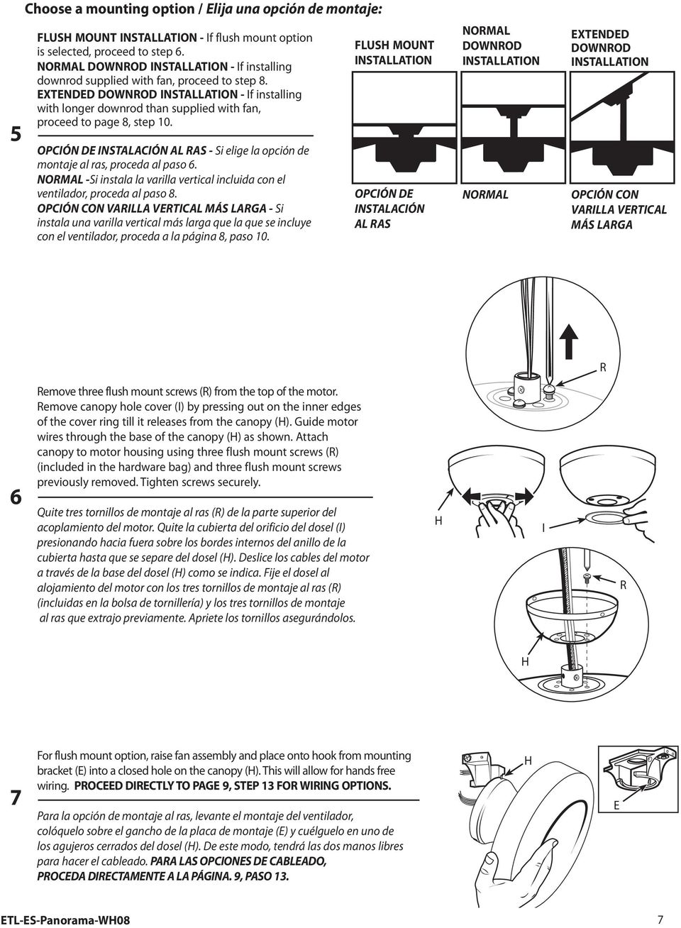 XTNDD DOWNROD INSTALLATION - If installing with longer downrod than supplied with fan, proceed to page 8, step 10.