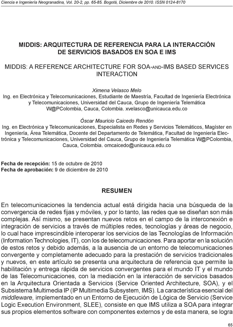 SERVICES INTERACTION Ximena Velasco Melo Ing.