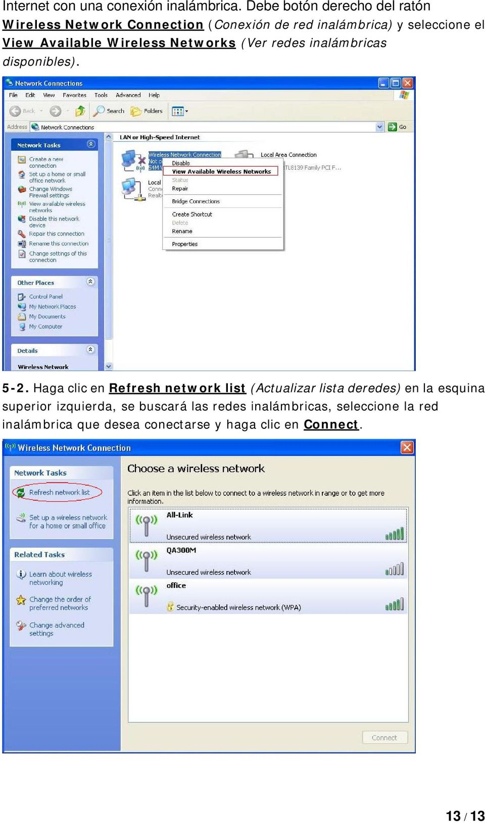 Available Wireless Networks (Ver redes inalámbricas disponibles). 5-2.
