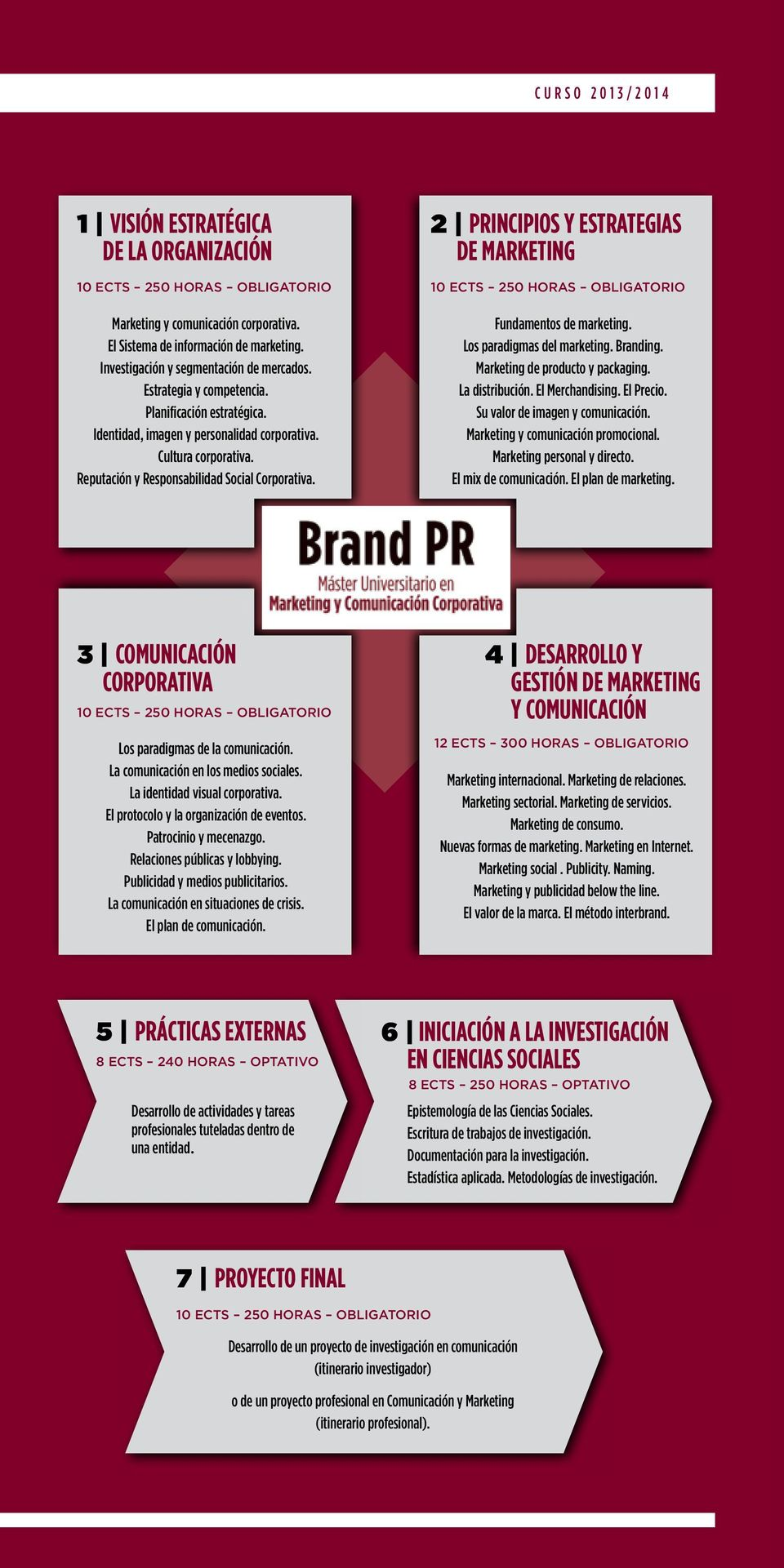 Reputación y Responsabilidad Social Corporativa. 2 Principios y estrategias de marketing 10 ECTS 250 Horas Obligatorio Fundamentos de marketing. Los paradigmas del marketing. Branding.
