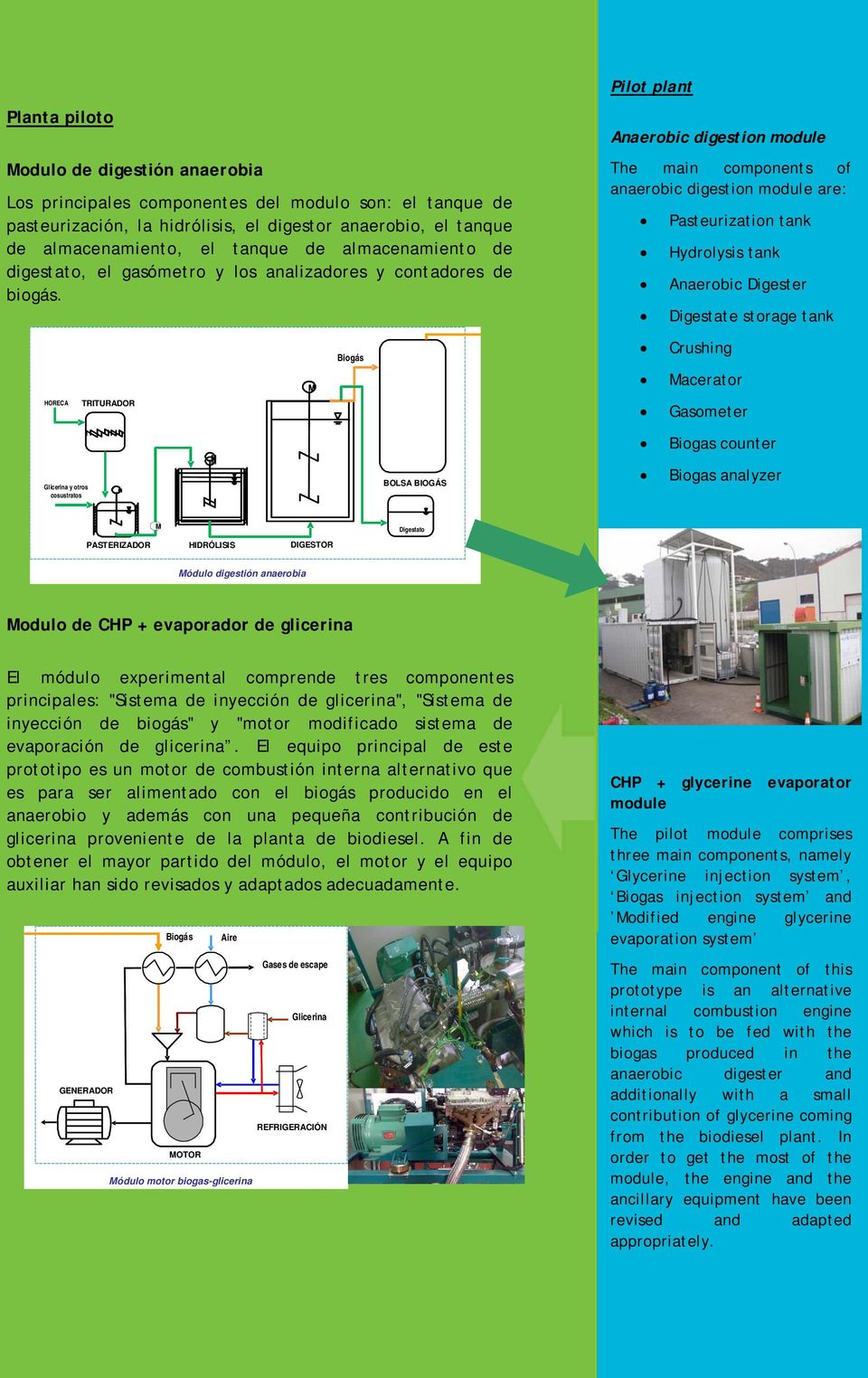 Pilot plant Anaerobic digestion module The main components of anaerobic digestion module are: Pasteurization tank Hydrolysis tank Anaerobic Digester Digestate storage tank Biogás Crushing acerator