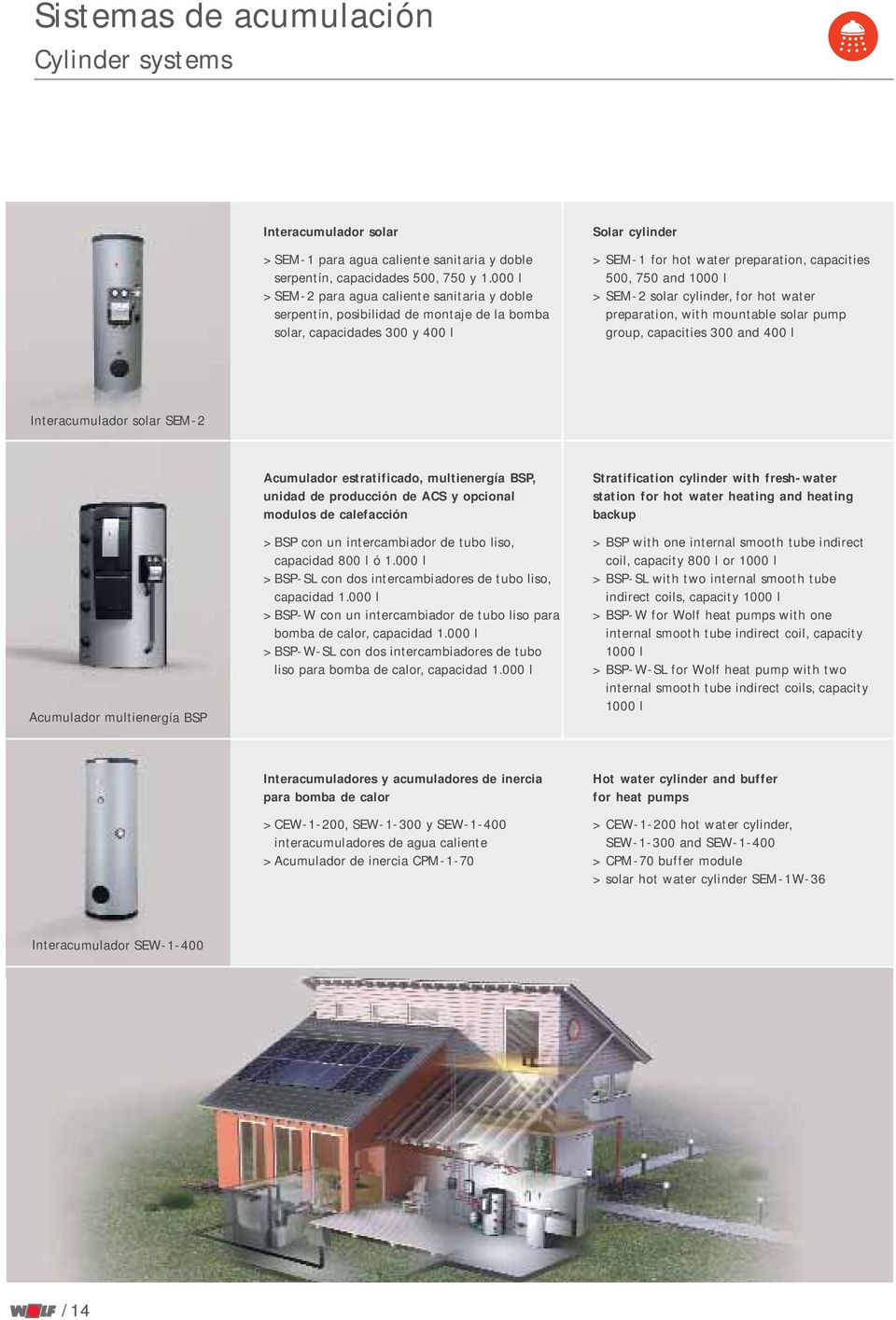 and 1000 l > SEM-2 solar cylinder, for hot water preparation, with mountable solar pump group, capacities 300 and 400 l Interacumulador solar SEM-2 Acumulador multienergía BSP Acumulador