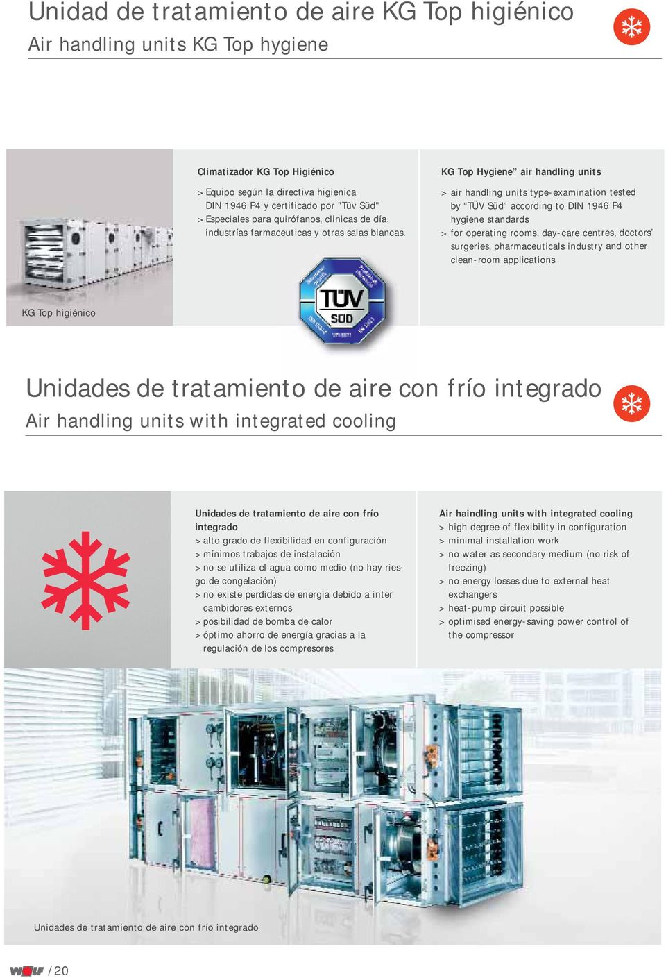 KG Top Hygiene air handling units > air handling units type-examination tested by TÜV Süd according to DIN 1946 P4 hygiene standards > for operating rooms, day-care centres, doctors surgeries,