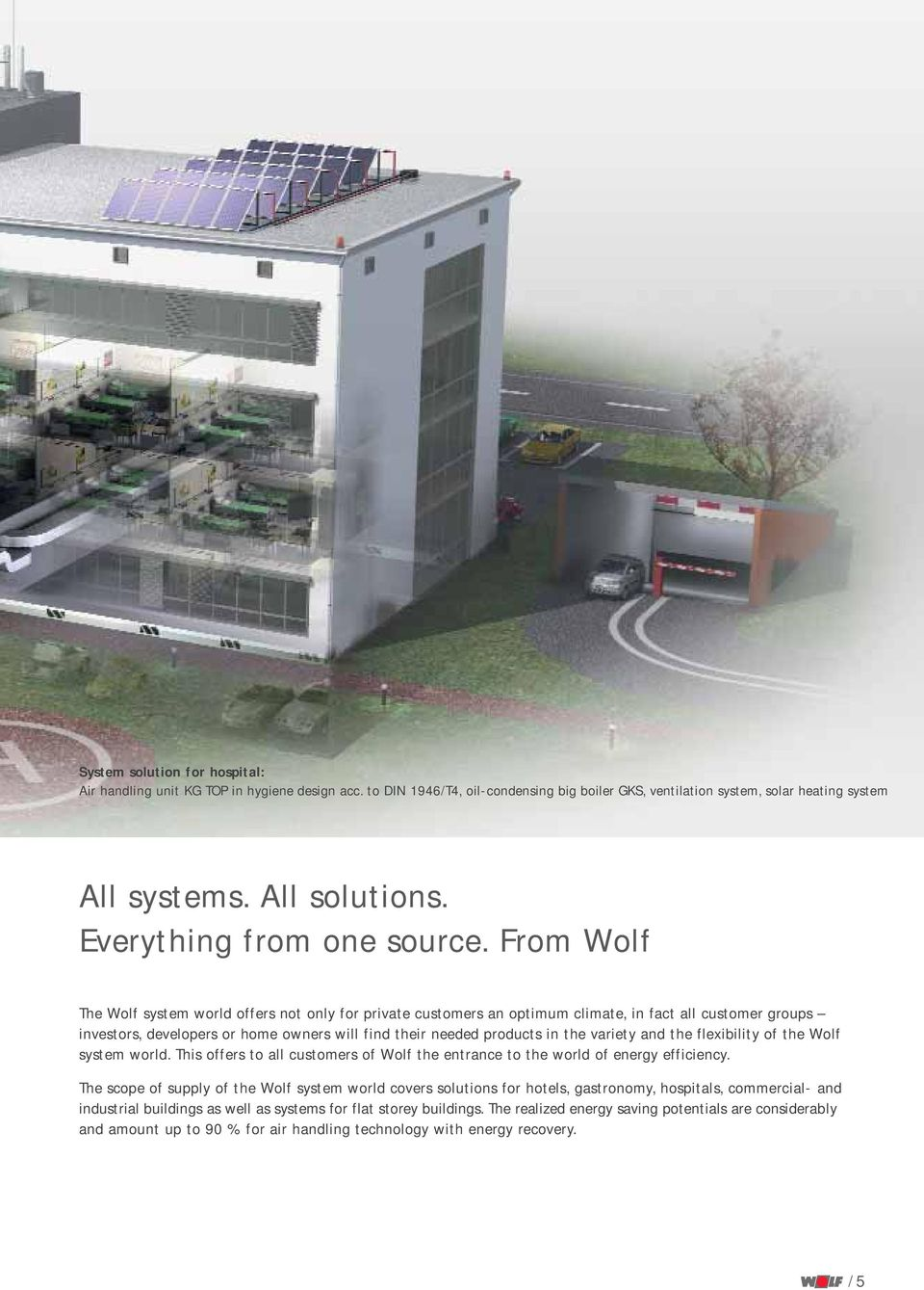 From Wolf The Wolf system world offers not only for private customers an optimum climate, in fact all customer groups investors, developers or home owners will find their needed products in the