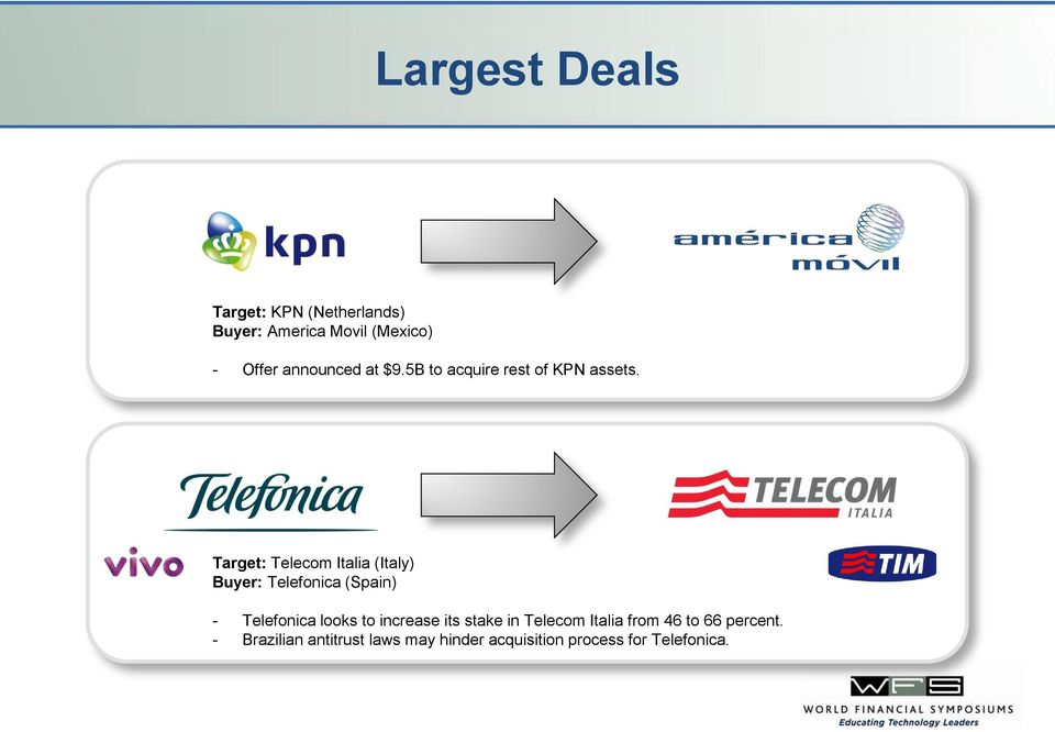 Target: Telecom Italia (Italy) Buyer: Telefonica (Spain) - Telefonica looks to