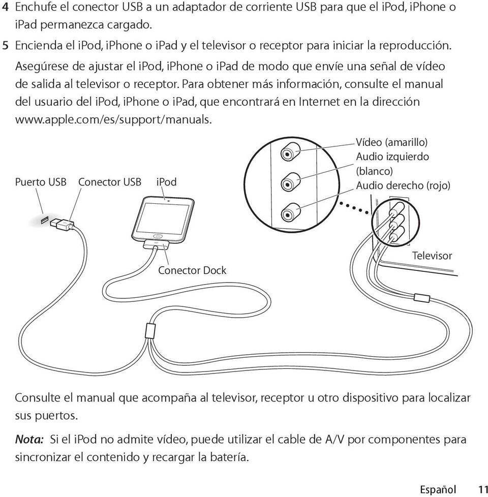 Para obtener más información, consulte el manual del usuario del ipod, iphone o ipad, que encontrará en Internet en la dirección www.apple.com/es/support/manuals.