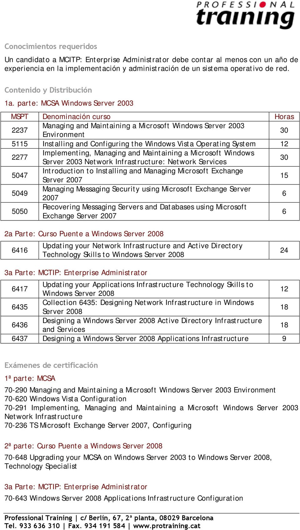 parte: MCSA Windows Server 2003 MSPT Denominación curso Horas 2237 Managing and Maintaining a Microsoft Windows Server 2003 Environment 30 5115 Installing and Configuring the Windows Vista Operating