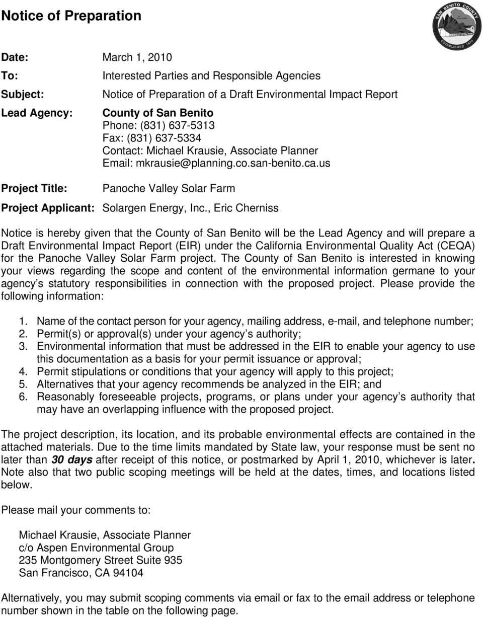 us Project Title: Panoche Valley Solar Farm Project Applicant: Solargen Energy, Inc.