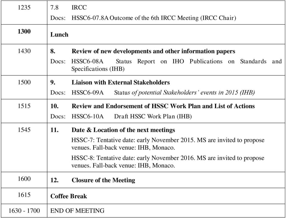 Liaison with External Stakeholders Docs: HSSC6-09A Status of potential Stakeholders events in 2015 (IHB) 1515 10.