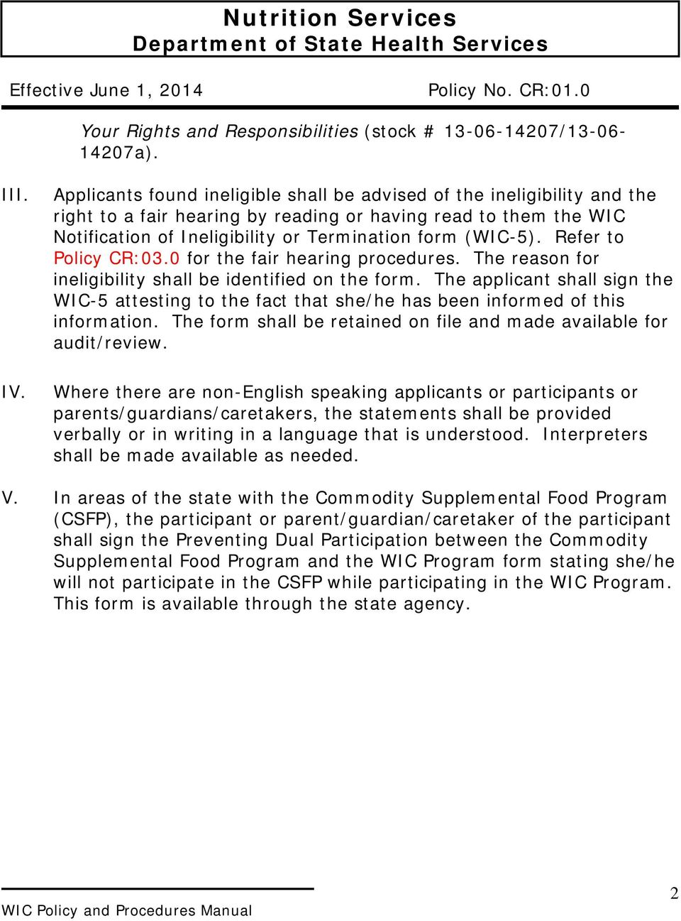 Refer to Policy CR:03.0 for the fair hearing procedures. The reason for ineligibility shall be identified on the form.