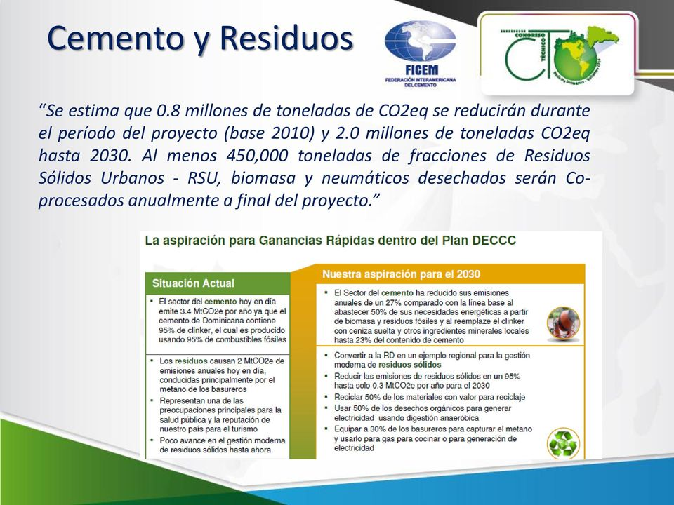 (base 2010) y 2.0 millones de toneladas CO2eq hasta 2030.