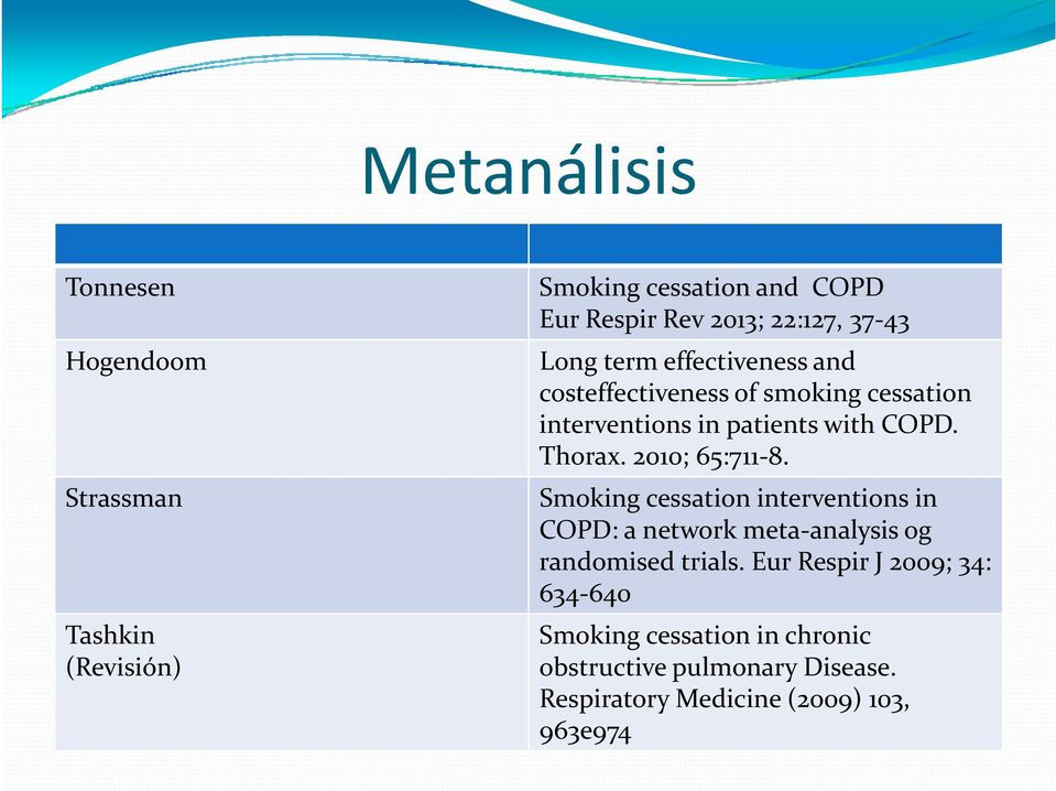 Strassman Tashkin (Revisión) Smoking cessation interventions in COPD: a network meta analysisanalysis og randomised