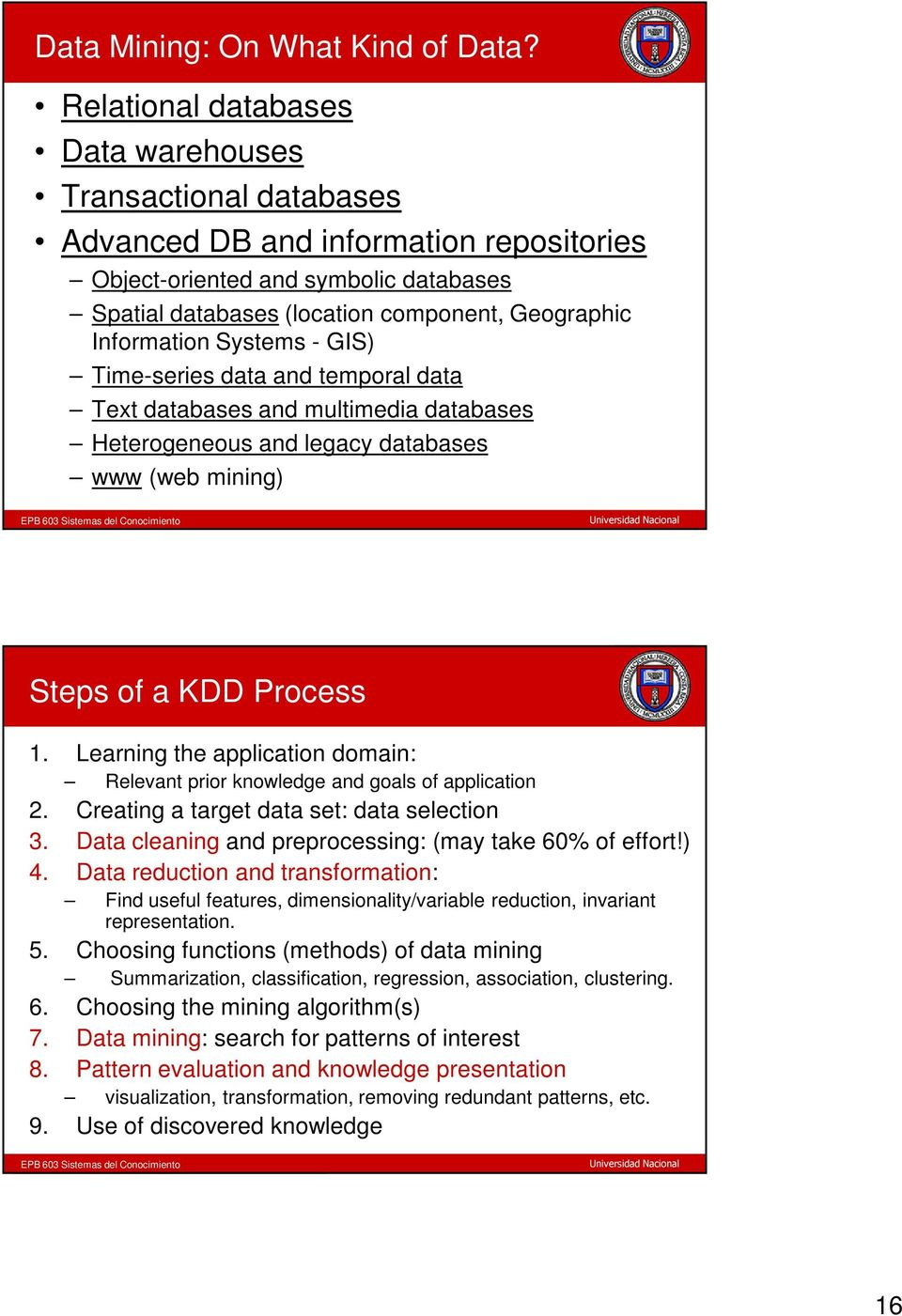 Information Systems - GIS) Time-series data and temporal data Text databases and multimedia databases Heterogeneous and legacy databases www (web mining) Steps of a KDD Process 1.