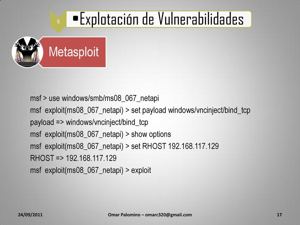 windows/vncinject/bind_tcp msf exploit(ms08_067_netapi) > show options msf