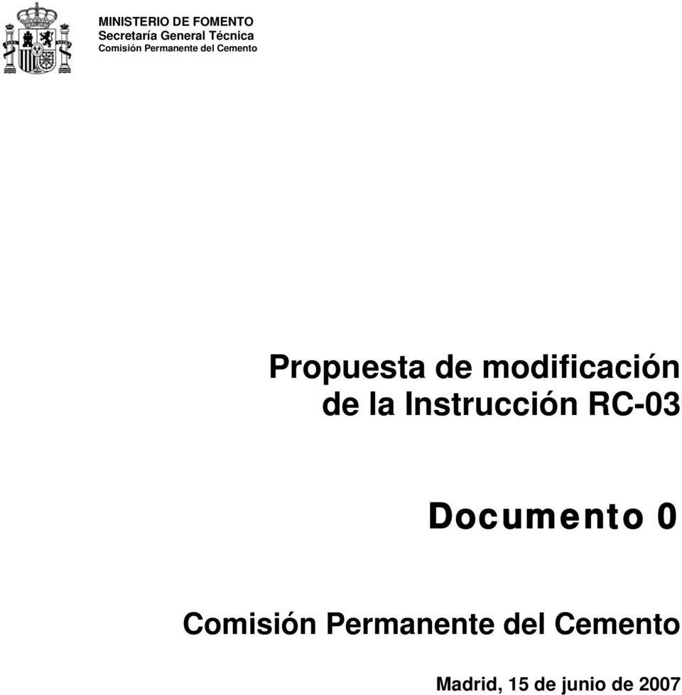 modificación de la Instrucción RC-03 Documento 0