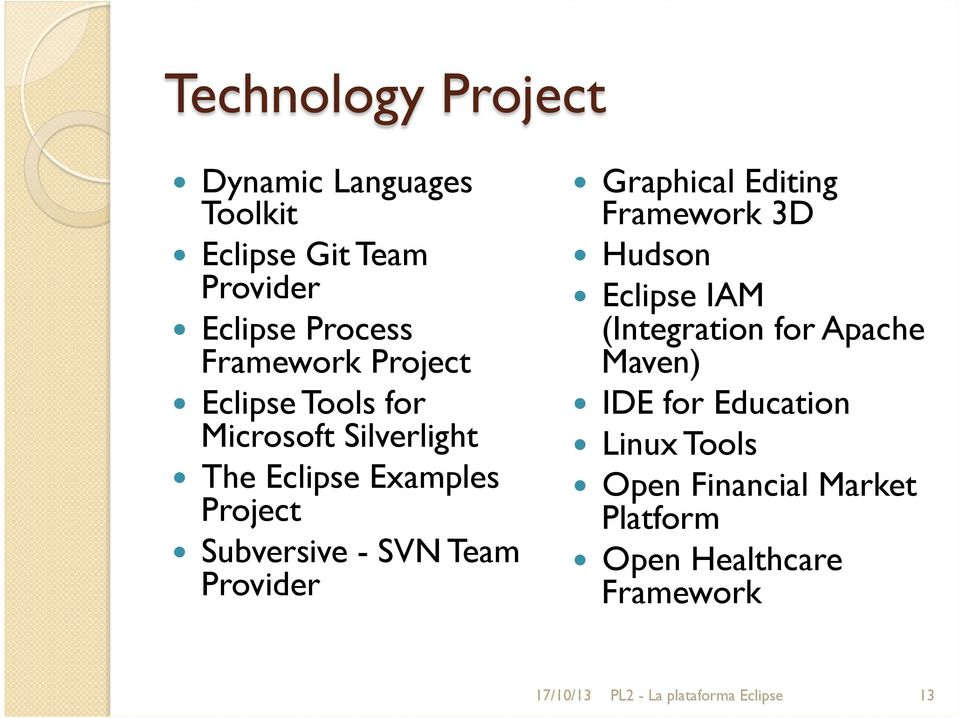 Provider Graphical Editing Framework 3D Hudson Eclipse IAM (Integration for Apache Maven) IDE for