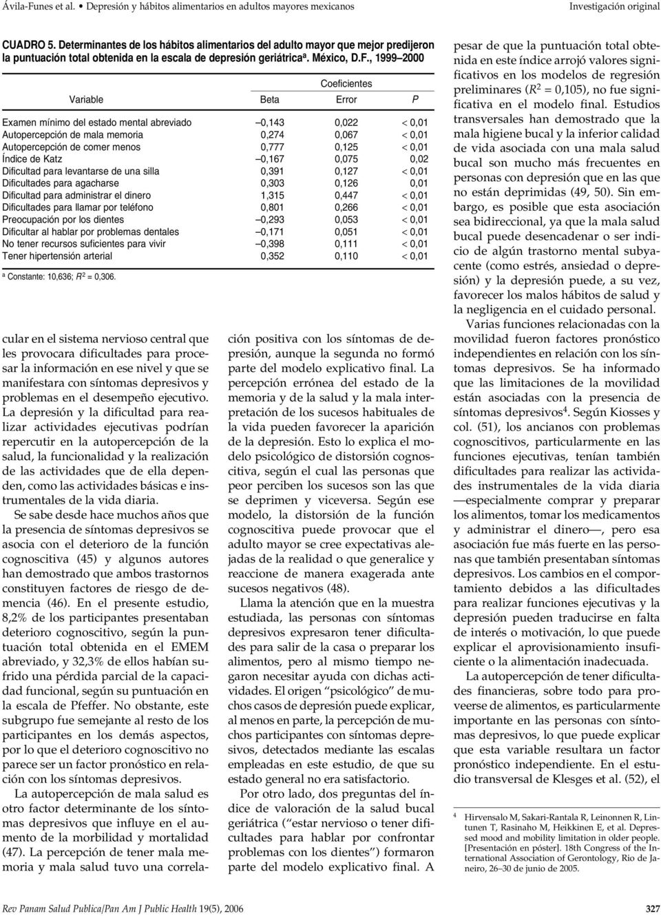 , 1999 2000 Coeficientes Variable Beta Error P Examen mínimo del estado mental abreviado 0,143 0,022 < 0,01 Autopercepción de mala memoria 0,274 0,067 < 0,01 Autopercepción de comer menos 0,777 0,125