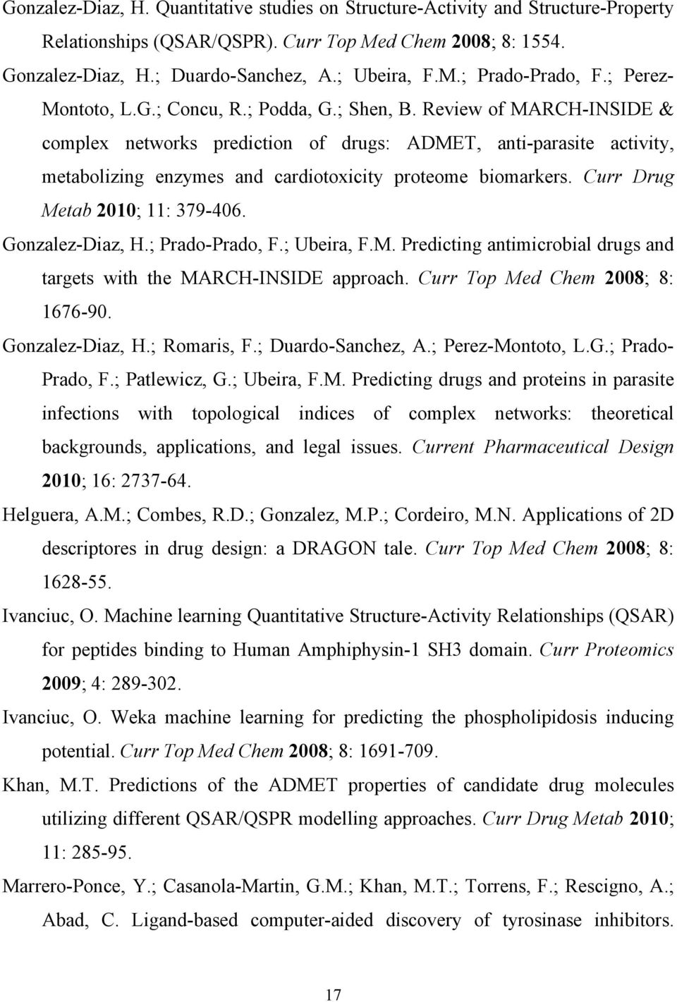 Review of MARCH-INSIDE & complex networs prediction of drugs: ADMET, anti-parasite activity, metabolizing enzymes and cardiotoxicity proteome biomarers. Curr Drug Metab 2010; 11: 379-406.