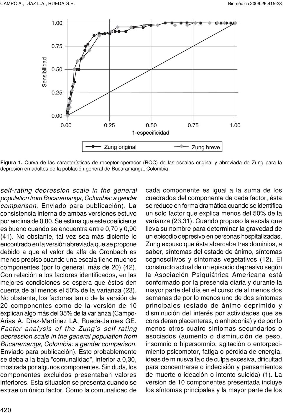 self-rating depression scale in the general population from Bucaramanga, Colombia: a gender comparison. Enviado para publicación). La consistencia interna de ambas versiones estuvo por encima de 0,80.