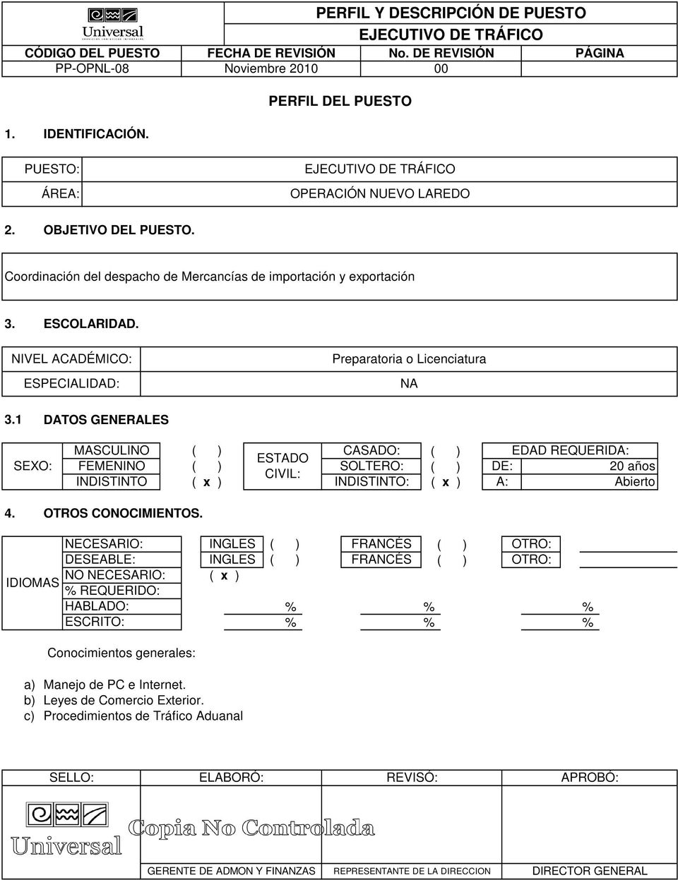 NIVEL ACADÉMICO: ESPECIALIDAD: Preparatoria o Licenciatura NA 3.