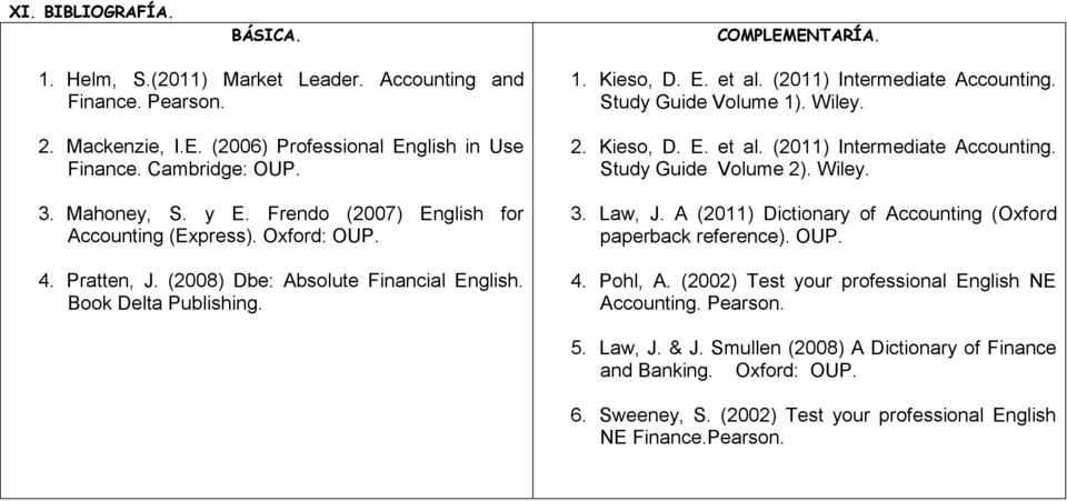(2011) Intermediate Accounting. Study Guide Volume 1). Wiley. 2. Kieso, D. E. et al. (2011) Intermediate Accounting. Study Guide Volume 2). Wiley. 3. Law, J.