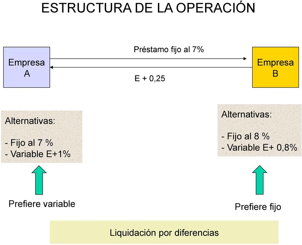 Alternativas: - Fijo al 8 % - Variable E+ 0,8%