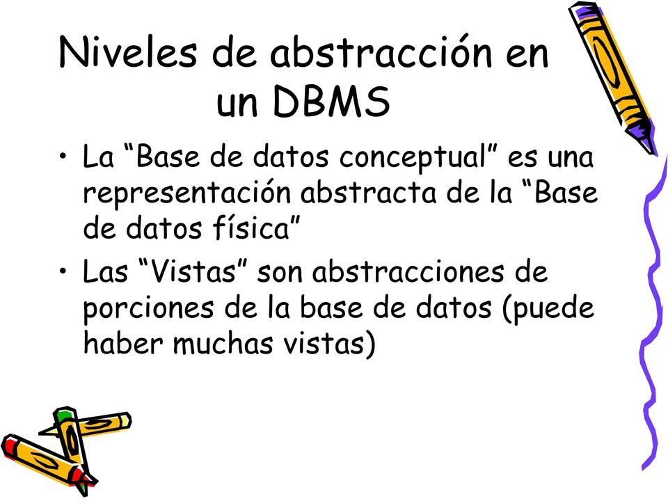 Base de datos física Las Vistas son abstracciones de