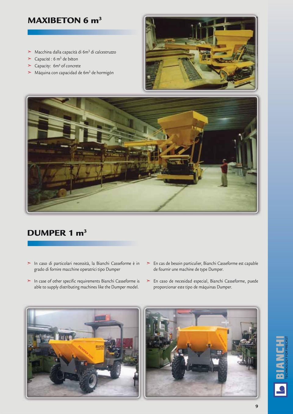 specific requirements Bianchi Casseforme is able to supply distributing machines like the Dumper model.