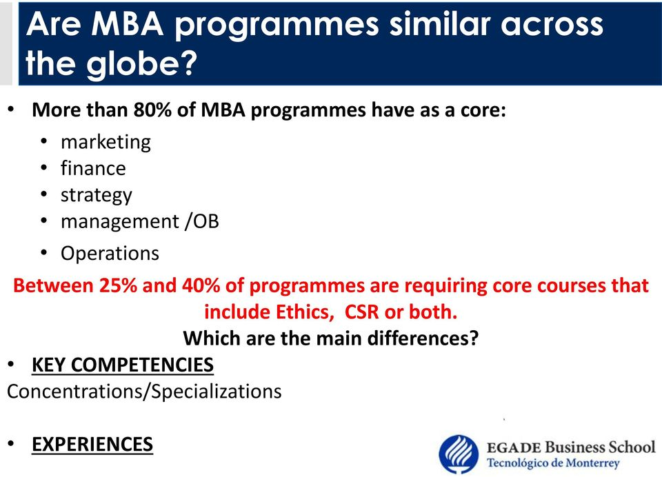 management /OB Operations Between 25% and 40% of programmes are requiring core