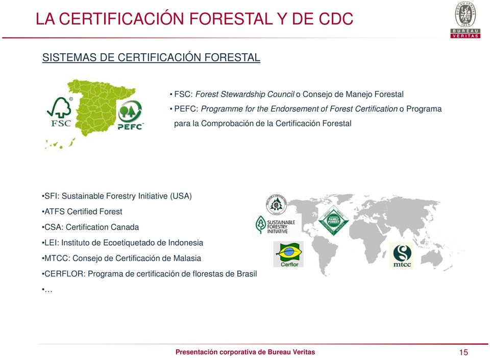 Sustainable Forestry Initiative (USA) ATFS Certified Forest CSA: Certification Canada LEI: Instituto de Ecoetiquetado de Indonesia