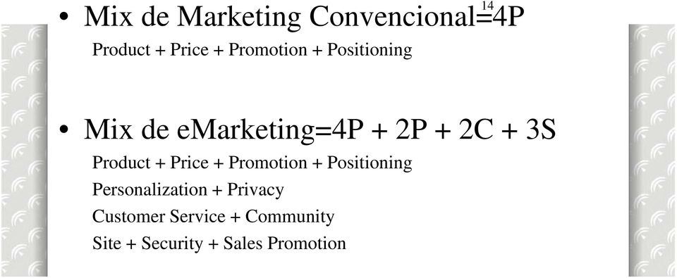 Price + Promotion + Positioning Mix de emarketing=4p + 2P + 2C + 3S