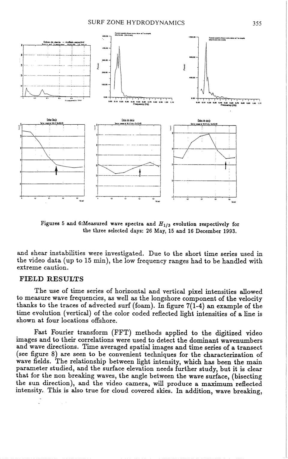 FIELD RESULTS The use of time series of horizontal and vertical pixel intensities auowed to measure wave frequencies, as weu as the longshore component of the velocity thanks to the traces of