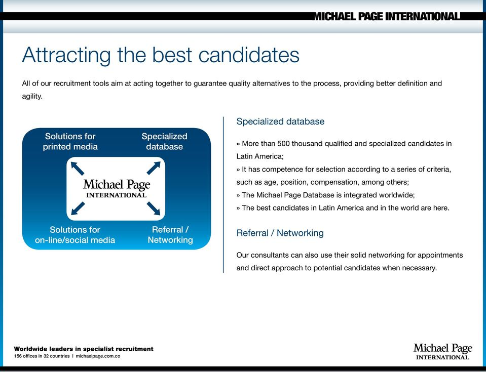 Latin America;» It has competence for selection according to a series of criteria, such as age, position, compensation, among others;» The Michael Page Database is integrated worldwide;» The