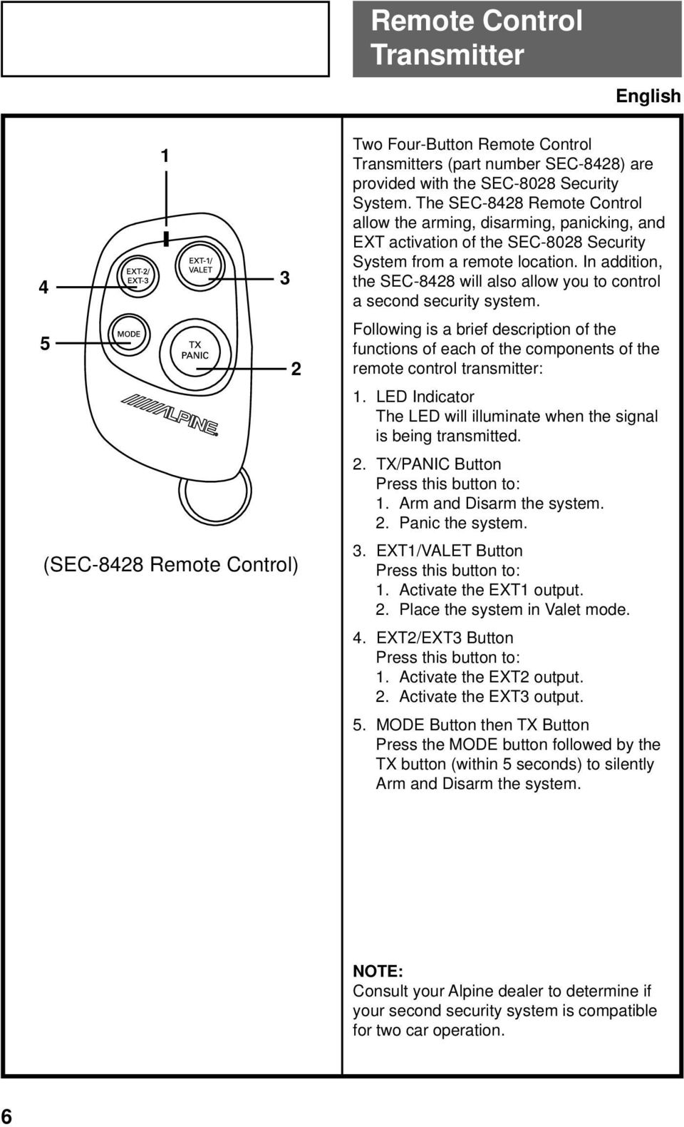 In addition, the SEC-8428 will also allow you to control a second security system. Following is a brief description of the functions of each of the components of the remote control transmitter: 1.