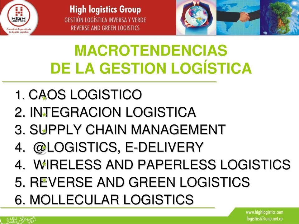 SUPPLY CHAIN MANAGEMENT 4. @LOGISTICS, E-DELIVERY 4.