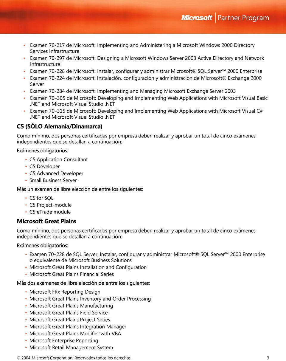administración de Microsoft Exchange 2000 Server Examen 70-284 de Microsoft: Implementing and Managing Microsoft Exchange Server 2003 Examen 70 305 de Microsoft: Developing and Implementing Web