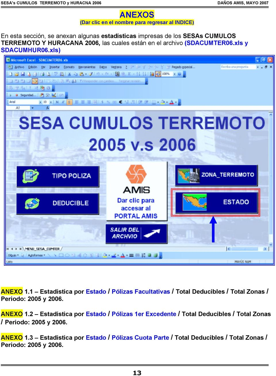 1 Estadística por Estado / Pólizas Facultativas / Total Deducibles / Total Zonas / Periodo: 2005 y 2006. ANEXO 1.