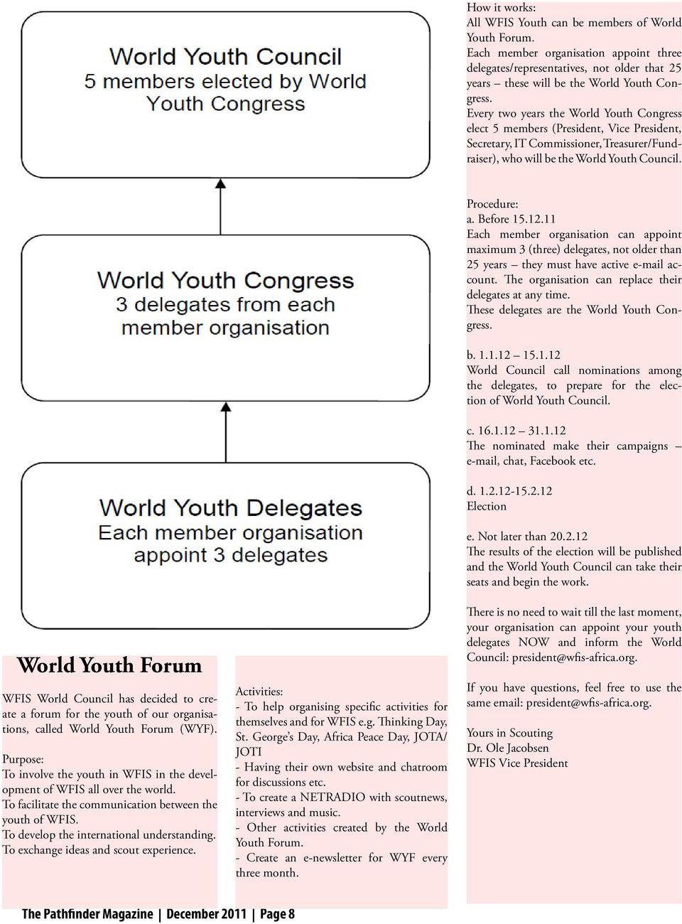 World Youth Forum WFIS World Council has decided to create a forum for the youth of our organisations, called World Youth Forum (WYF).