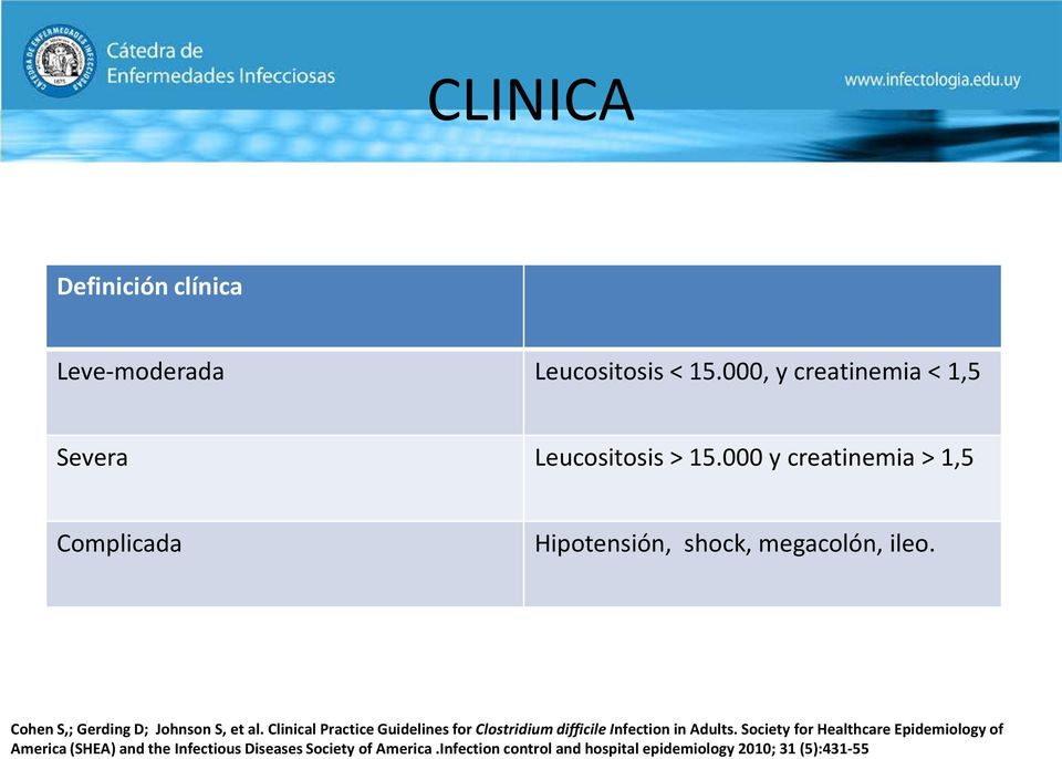 Clinical Practice Guidelines for Clostridium difficile Infection in Adults.
