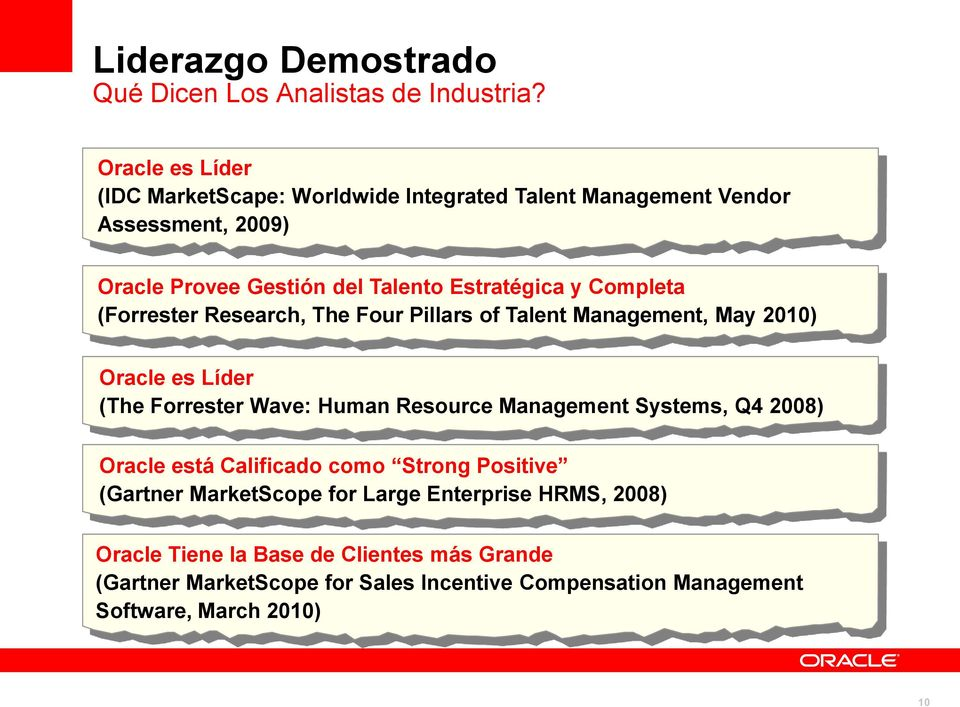 Completa (Forrester Research, The Four Pillars of Talent Management, May 2010) Oracle es Líder (The Forrester Wave: Human Resource Management