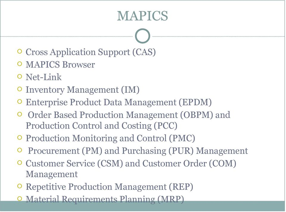 Production Monitoring and Control (PMC) Procurement (PM) and Purchasing (PUR) Management Customer Service