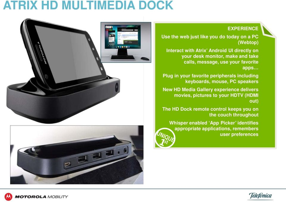 keyboards, mouse, PC speakers New HD Media Gallery experience delivers movies, pictures to your HDTV (HDMI out) The HD Dock