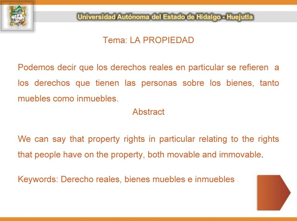 Abstract We can say that property rights in particular relating to the rights that people