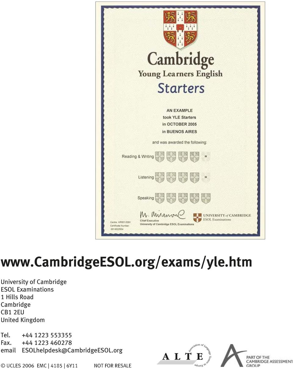 Cambridge CB1 2EU United Kingdom Tel. +44 1223 553355 Fax.