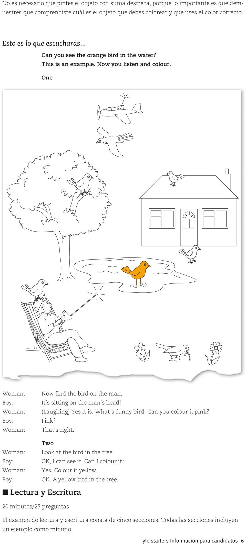 (Laughing) Yes it is. What a funny bird! Can you colour it pink? Pink? That s right. Two Look at the bird in the tree. OK, I can see it. Can I colour it? Yes. Colour it yellow. OK. A yellow bird in the tree.