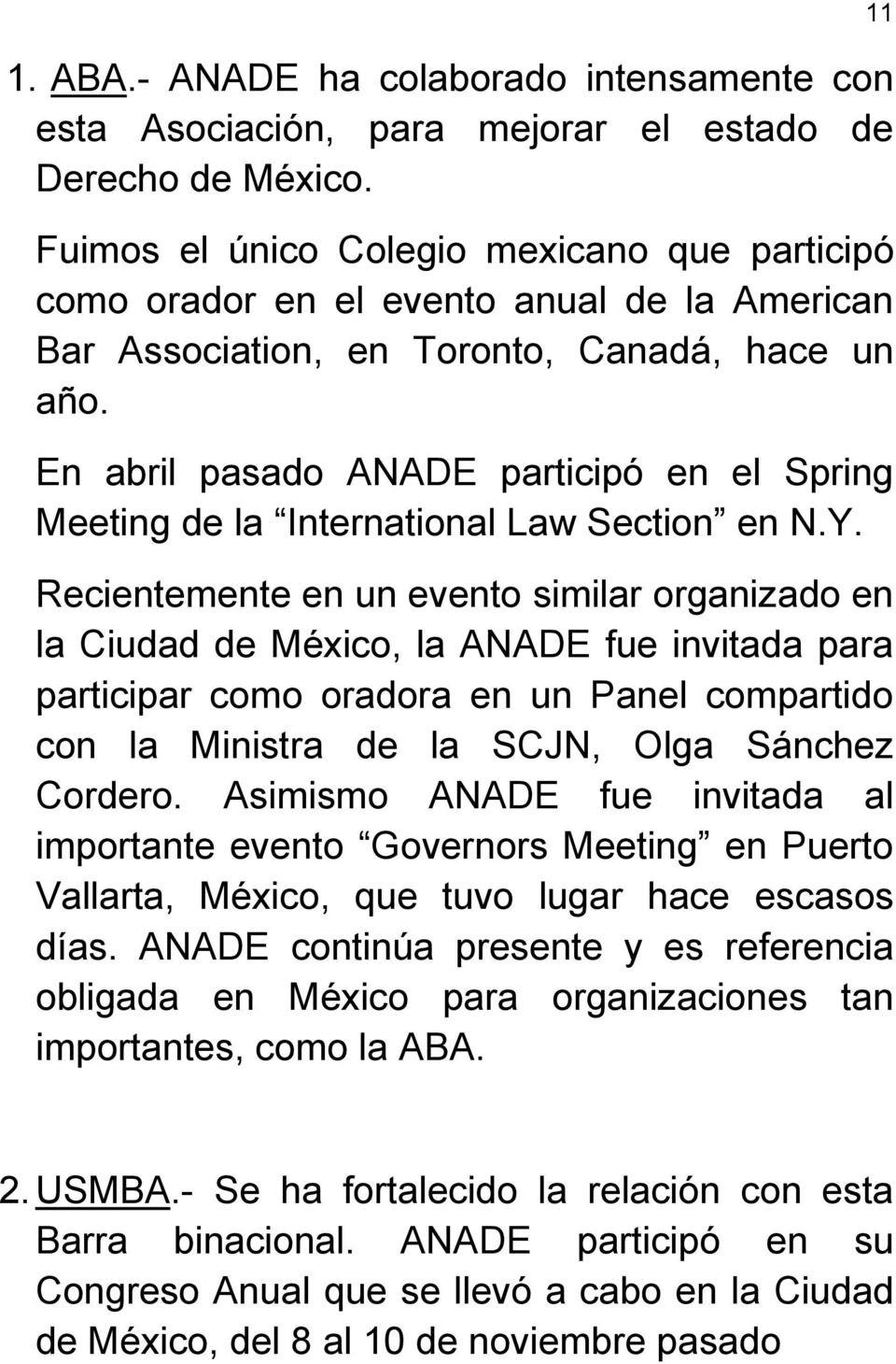 En abril pasado ANADE participó en el Spring Meeting de la International Law Section en N.Y.