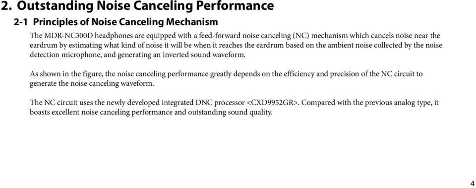 inverted sound waveform. As shown in the figure, the noise canceling performance greatly depends on the efficiency and precision of the NC circuit to generate the noise canceling waveform.