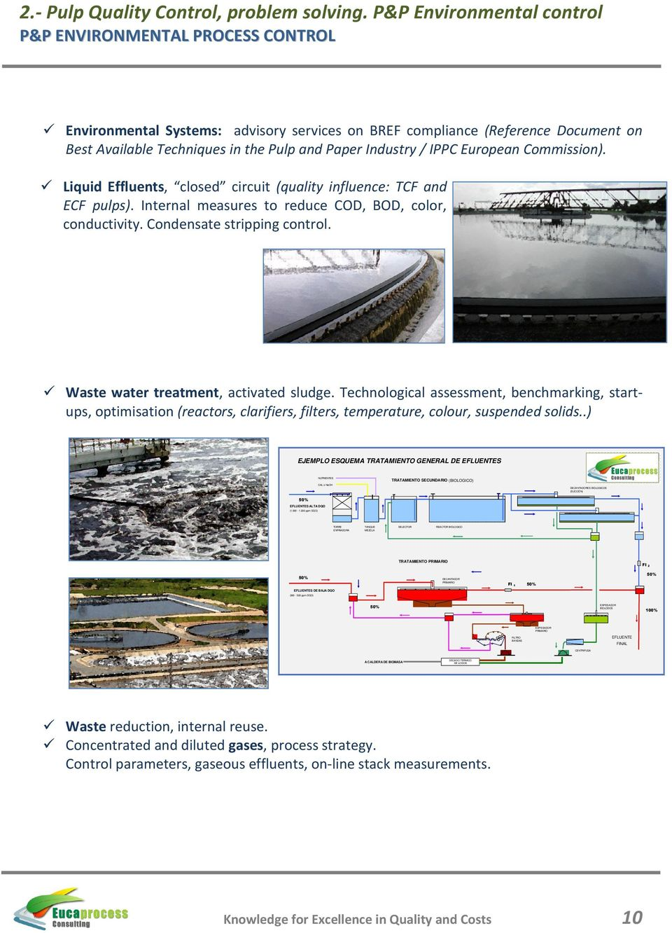 / IPPC European Commission). Liquid Effluents, closed circuit (quality influence: TCF and ECF pulps). Internal measures to reduce COD, BOD, color, conductivity. Condensate stripping control.