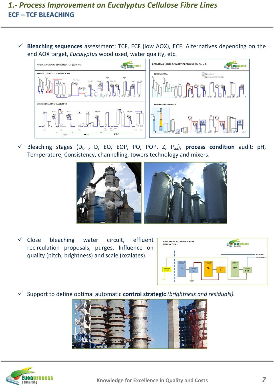 Bleaching stages (D 0, D, EO, EOP, PO, POP, Z, P aa ), process condition audit: ph, Temperature, Consistency, channelling, towers technology and mixers.